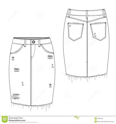 Boogybaby Pant Midi Basic Boy gescheurde midi jean skirt vector illustratie afbeelding