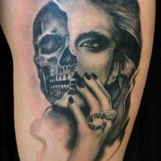 half woman half skull tattoo designs beautiful half womand half skull it