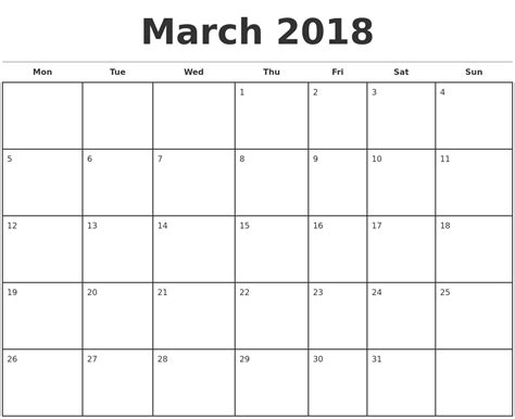 March 2018 Monthly Calendar Template Monthly Calendar 2018 Template