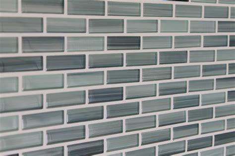 blue gray white subway glass mosaic tile kitchen