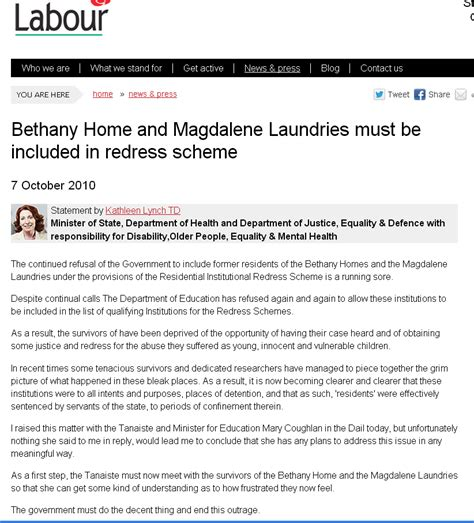 minister said bethany home must be included in redress