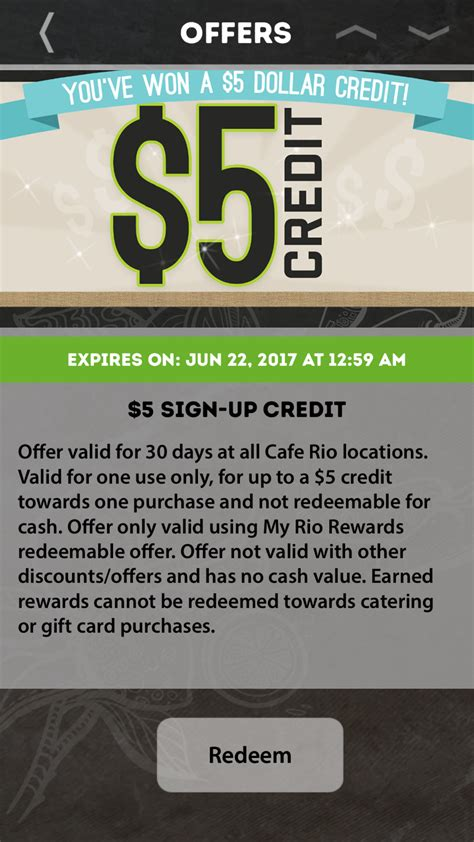 Cafe Rio Gift Card Deal - cafe rio free 5 credit with my rio rewards app download vonbeau com