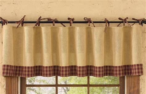 Park Design Curtains Wine Burlap Tie Sturbridge Curtain Valance 72 Quot X 14 Quot