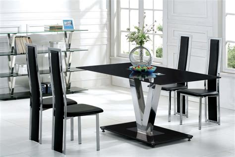 Black Glass Dining Room Table And Chairs by Buy Modern Glass Dining Table And 6 Chairs