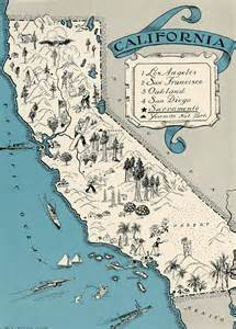 vintage map california charming california map