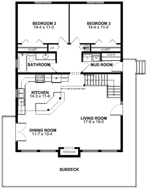 floor plan of a frame vacation house plan 99961