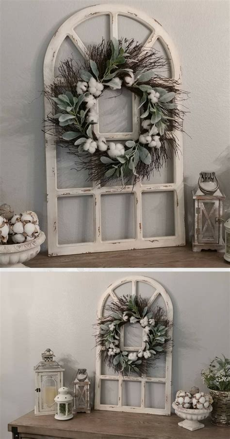 Farmhouse Wall Decor, Distressed Window Pane, Grapevine
