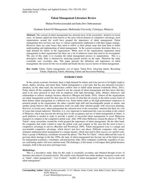 talent management research papers pdf talent management literature review pdf available