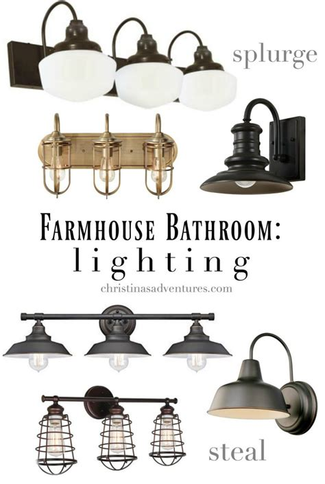 Rustic Farmhouse Bathroom Light Fixtures Lighting Best Ideas About With Prepare Ru by Farmhouse Bathroom Design Christinas Adventures