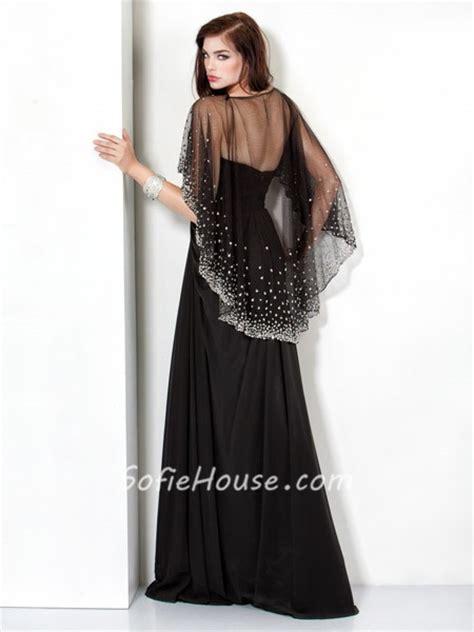 Longdress Set 2in1 Glitter Pink sparkle sheath black chiffon evening prom dress with beaded sequins shawl