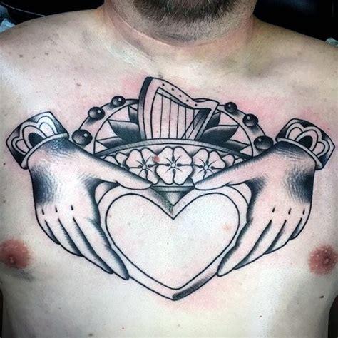 claddagh tattoo on chest 50 claddagh tattoo designs for men irish icon ink ideas