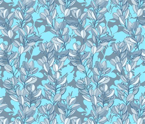grey pattern turquoise manduca leaf and berry sketch pattern in turquoise blue and grey