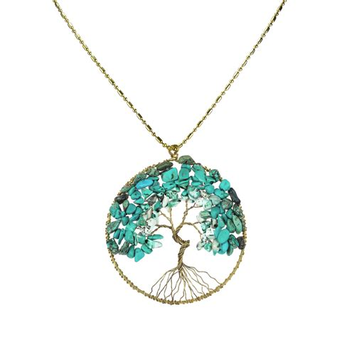 turquoise stone necklace turquoise stone eternal tree of life brass long necklace