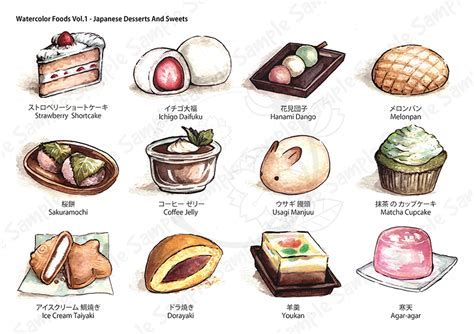 Watercolor Foods Collection   Sample by eikomakimachi on