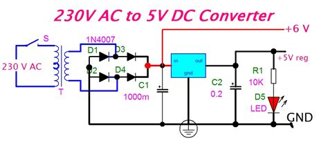 ac to dc converter schematic diagram eeetricks 230v ac to 5v dc converter circuit