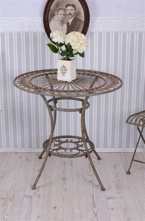 Wrought Iron Bistro Table And Chairs Nostalgic Garden Furniture Set Table And Teo Chairs Bistro Wrought Iron Antique Ebay