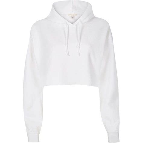 Jaket Sweater Hoodie White River Island White Cropped Hoodie 163 30 Liked On Polyvore