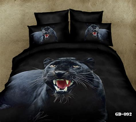 3d black panther animal bedding comforter set for king