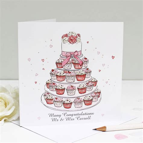 greeting cards for personalised wedding cupcakes greeting card by give