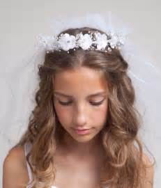 communion veil with silk flowers tiara by
