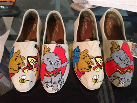disney shoes painted disney toms winnie the pooh and dumbo