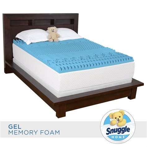 queen size bed topper snuggle home queen size 3 quot gel memory foam 7 zone mattress