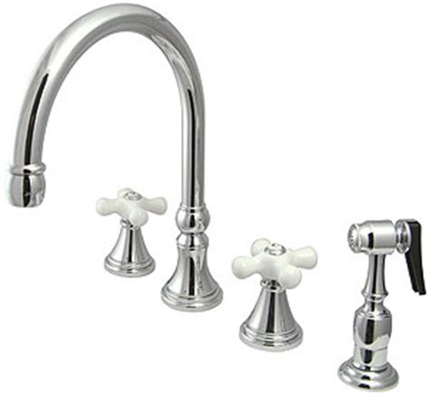 White Porcelain Faucet Handles by Bar Harbor Handle Kitchen Faucet With Sprayer And