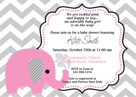 printable pink elephant chevron baby shower invitation