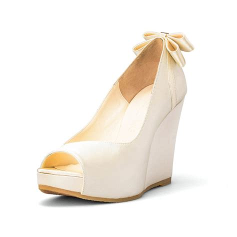 White Bridal Wedges by Custom Made Wedges Ivory White Wedding Wedges Platform