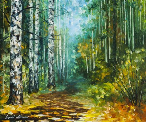 spring paint spring birches original oil painting on canvas by leonid