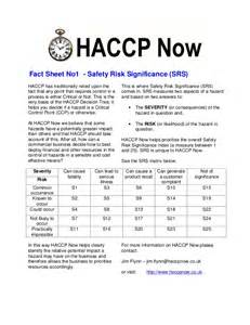 haccp fact sheet 1 risk assessment