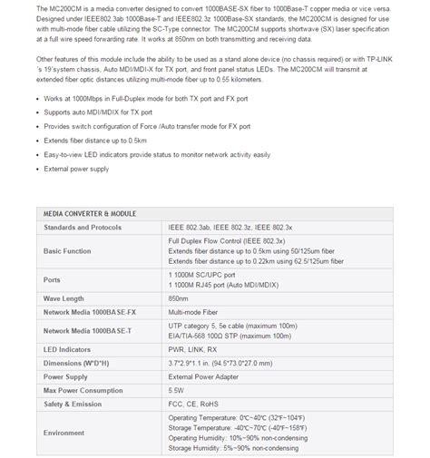 Tp Link Media Converter Mc200cm tp link mc200cm gigabit multi mode media converter tl