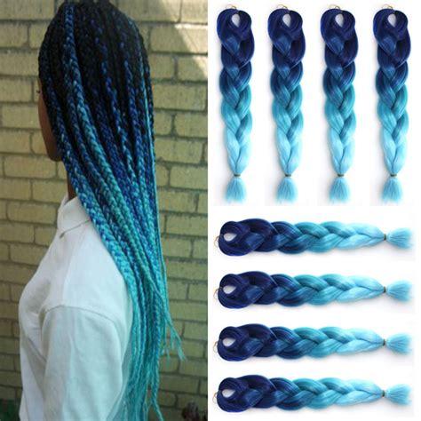 ombre kinkaline braid hair 10pcs 24inch ombre kanekalon braiding hair 100g ombre blue