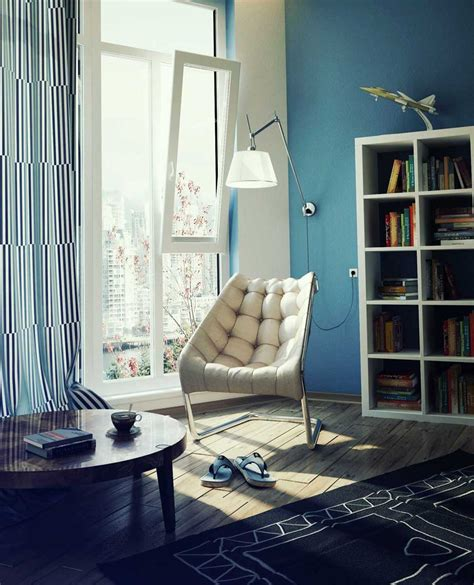 Reading Space Ideas | blue lounge cream chair interior design ideas