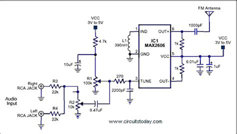 radio transmitter integrated circuit gt rf gt fm transmitters gt single chip fm transmitter circuit using ic max 2606 l37258 next gr