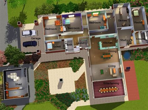Sims 3 Pool Layouts Best Layout Room Sims House Plans