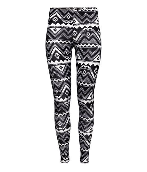 patterned sport leggings lyst h m patterned leggings in white