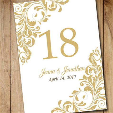 printable wedding table number template from