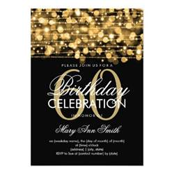 60th birthday sparkles gold personalized invitations