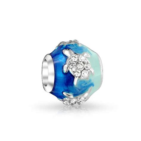 925 Silver Blue Sea Turtle Crystal Barrel Bead Pandora Compatible