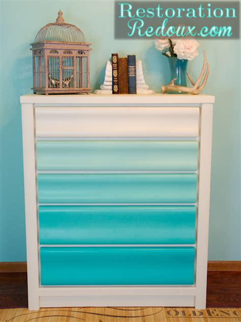 Turquoise Painted Dresser by Turquoise Ombre Painted Dresser Restoration Redoux