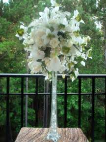 Gold Trumpet Vase Tall Flower Arrangement With Roses In Wedding White Calla