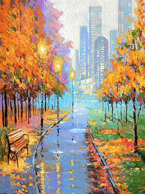 autumn   big city vertical oil painting