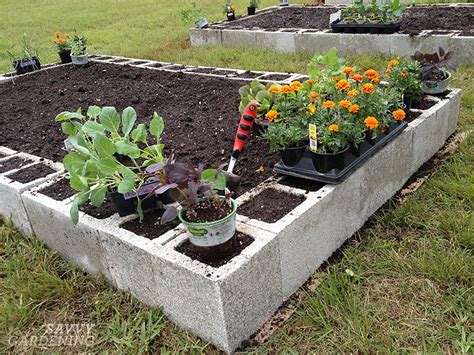 Concrete block raised beds
