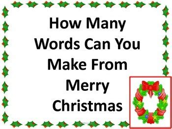 what words can i make with the letters merry how many words can you make by christine 1717