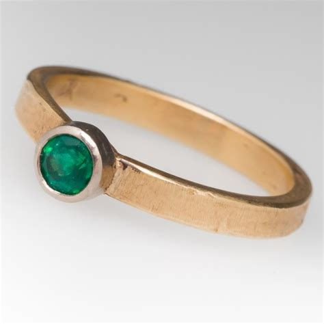 Handmade Emerald Ring - handmade bezel set emerald ring 14k