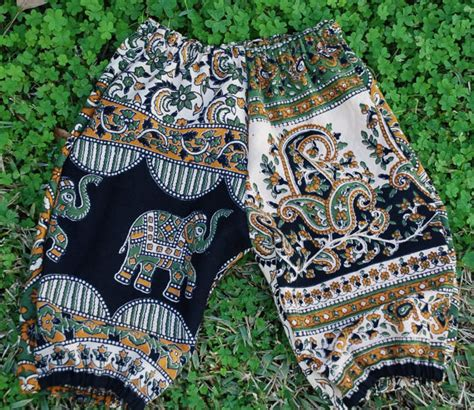 elephant design clothes hippie baby pants harem style bloomers green elephant