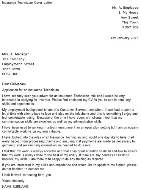 insurance cover letter insurance technician covering letter exle icover org uk