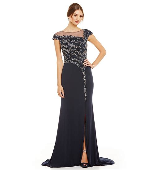 terani couture beaded gown terani couture illusion neck beaded gown dillards