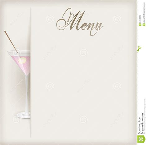 menu with martini stock image image of ornament